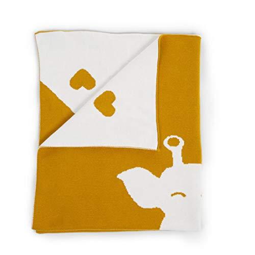 Woodega childhome - coperta per fasciatoio in jersey di cotone con motivo a giraffe, 80 x 100 cm, perfetta per il benessere quotidiano del neonato, colore: kaki