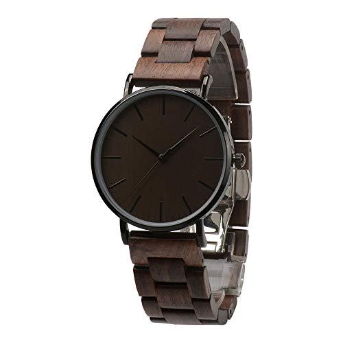 Holzuhr Herren Damen Unisex Holz-Armbanduhr mit Legiertem Uhrengehäuse und Holzarmband (Walnuss)