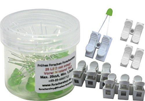 Preisvergleich Produktbild 25 LEDs grün mit eingebautem Widerstand + 5 Press-Lüsterklemmen (2- und 3-fach) - einfache Handhabung