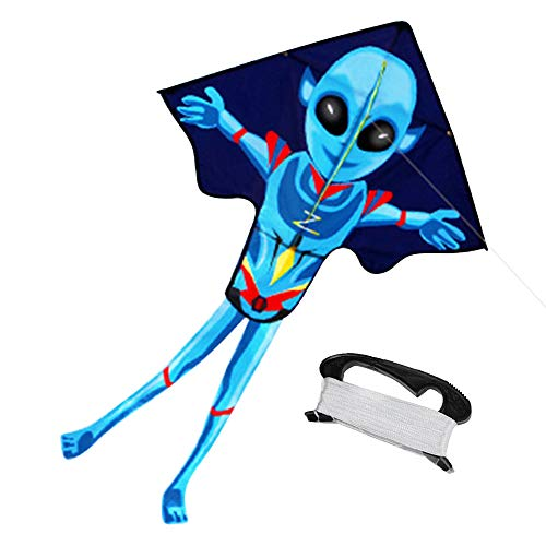 Mayco Bell 2018 New 55x37 Zoll Alien Kite Flying Outdoor Fun Sport Drachen für Kinder und Erwachsene Groß Leicht zu fliegen Kite mit String und Griff