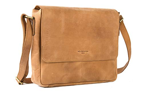 HOLZRICHTER Berlin - Premium Umhängetasche (S) aus Leder - Handgefertigte Laptop Messenger Bag im Vintage Design - Ledertasche für Herren und Damen - camel-braun -