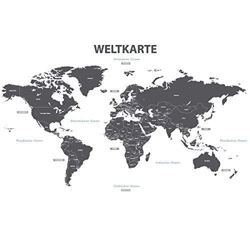 DECOWALL DLT-1609GDE Deutsche Moderne Graue Weltkarte Wandtattoo Wandsticker Wandaufkleber Wanddeko für Wohnzimmer Schlafzimmer Kinderzimmer (Extra Groß)(Deutsche Ver.) - Kleinkind-mädchen-wand-spiegel