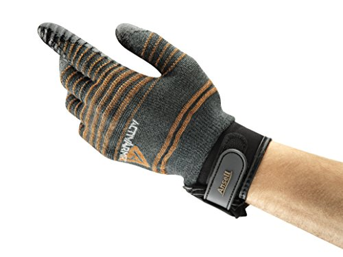 Ansell ActivArmr 97-009 Gants pour usages multiples, protection mécanique, Noir, Taille 9 (Sachet de 1 paire)