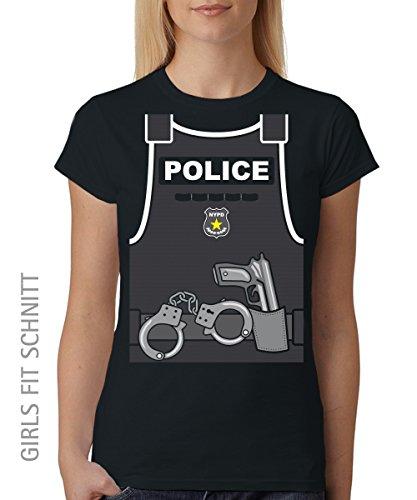 ::: POLICE ::: Girls T-Shirt Schwarz, Größe (Kostüme 70er Jahre Cop)
