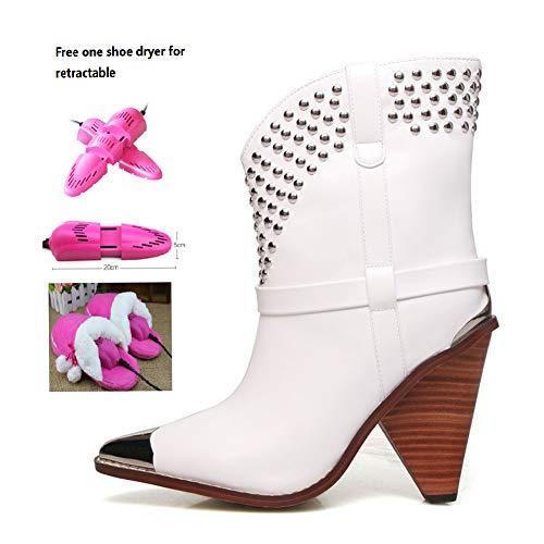 BWCX Damen Mittelstiefel mit geformter Ferse für Fashion Lady, inklusive einem ausziehbaren Schuhtrockner 48 weiß