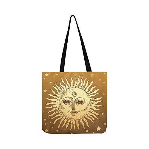 Sun Face Sunny Icon Zeichen Symbol Leinwand Tote Handtasche Schultertasche Crossbody Taschen Geldbörsen für Männer und Frauen Einkaufstasche -