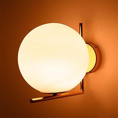 QWER Schlafzimmer Nachttischlampe Glas Lampenschirm aus Edelstahl vergoldet, kreisförmige Wandleuchte Led (Kreisförmige Lampenschirme)