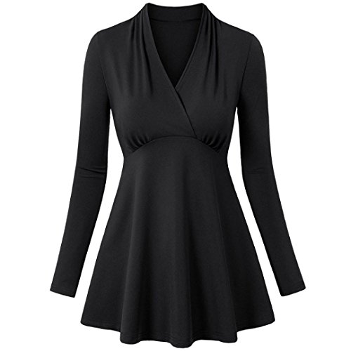 VENMO Damen Langarm V-Ausschnitt geraffte Seitenfalte gebogene Saum Tunika Tops Kleid Hemdkleid Button Chiffon Langarm Slim Casual Blusenkleid Minikleid Bluse Tops Jumper Shirt Dress (Sexy Black, XL) (Seide Bluse Geraffte Aus)