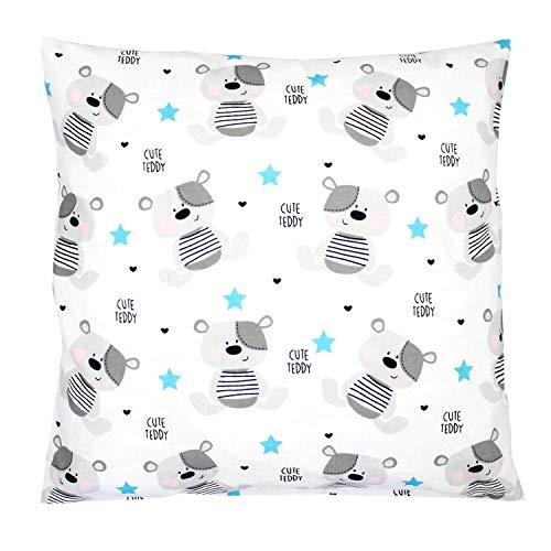 TupTam Kissenhülle Dekorativ Gemustert, Farbe: Teddybärchen Blau, Größe: 80 x 80 cm