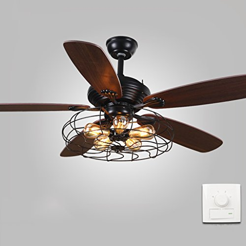 Yxsd Industrielle Retro Deckenventilator Kronleuchter-5 Fan Brown Eisen Holz LED-Restaurant Wohnzimmer Fan Schlag und Beleuchtung Lampe (Farbe : A, größe : 132 cm) -