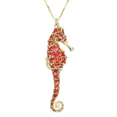 Collier Hippocampe d'Or - Majestueux pendentif de designer Fait main - Petit modèle - Bijoux Marin - Cadeau de Noel pour femme Corail
