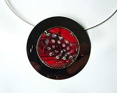 Speciimen - Bijou pour Femme en Circuit Imprimé Recyclé avec Cristal Swaroski - Pendentif Rouge Rond - Exemplaire Unique Fait Main