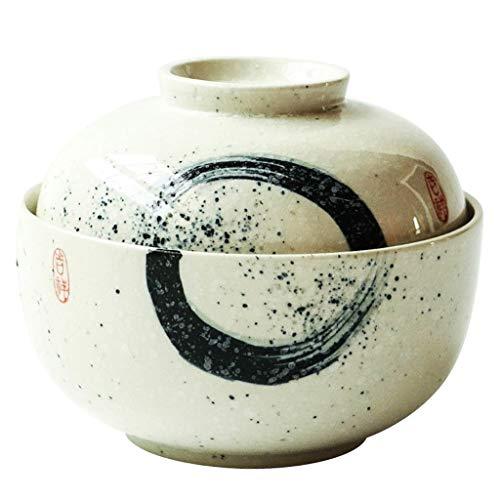 L.HPT Salatschüsseln 6,5-Zoll-handgemachte Runde Keramik Schüssel große Steingut Schüssel mit Deckel für Udon Ramen Nudelsalat Suppe und Brei Nudelschale (Farbe : Weiß)