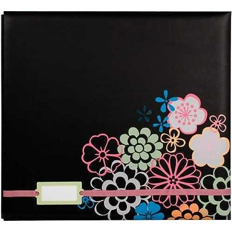 """Postbound Album con etichetta titolare 12 """"X 12""""-nero floreale"""