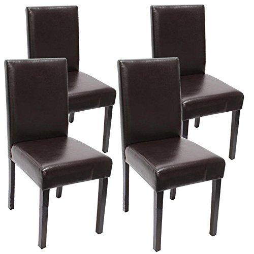 Lot de 4 chaises de séjour Littau, cuir reconstitué, marron, pieds foncés
