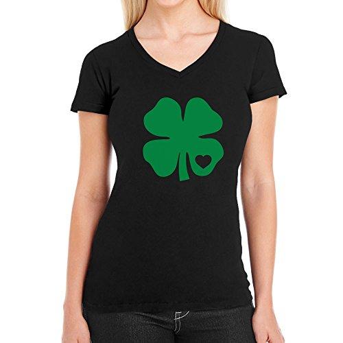 Grünes Herz Kleeblatt St. Patrick's Day Irland Damen T-Shirt V-Ausschnitt XX-Large Schwarz
