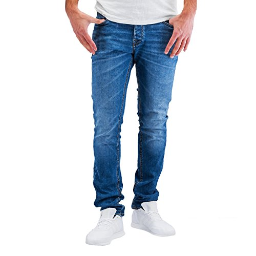Jack & Jones Herren Slim Fit Jeans Denim Used Look (W31 L34, Blue Denim) (Jeans Tight Leg)
