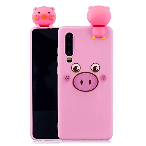Kompatibel mit Huawei P30 Handyhülle 3D Painted Cartoon Soft TPU Silikon Cover Clear Case Ultra Slim Gel Shock Proof Cover Transparent Case Protective Animal Rosa, Schwein -