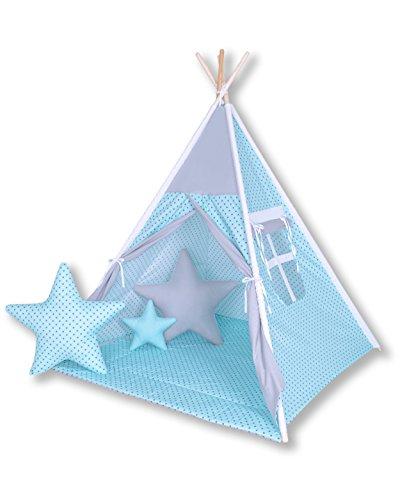 Amilian® Tipi Spielzelt Zelt für Kinder T20 (Spielzelt mit Tipidecke/mit 3 x Sternkissen)