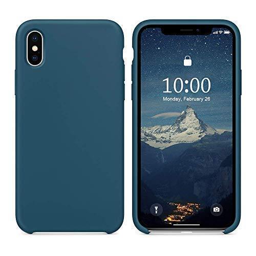 SURPHY iPhone XS Silikon Hülle, iPhone X Hülle,Schutzschale vor Stürzen und Stößen Silikon Handyhülle für iPhone XS(2018) iPhone X(2017) 5,8 Zoll, Kosmos Blau