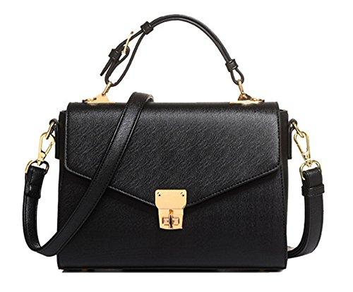 Xinmaoyuan Borse donna donne fibbia di chiusura lampo borsette maniglia borsa Messenger Nero