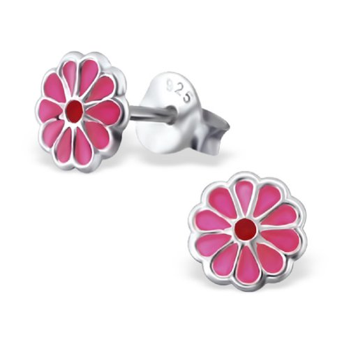 Laimons - Pendientes con forma de flor para niña - Plata de ley 925