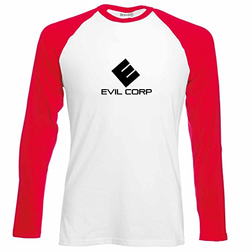 Brand88 - Evil Corp, Langarm Baseball T-Shirt Weiss & Rot