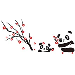 Hotportgift Two Cute Baby Panda Wall Sticker Home Decoration-Panda and Cherry Blossom Tree by HPG by HPG