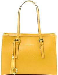 Tuscany Leather - TL Bag -Sac à main en cuir Saffiano - Jaune