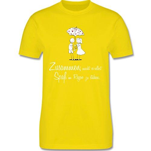 Romantisch - Zusammen - macht es Spaß im Regen zu stehen - Herren Premium T-Shirt Lemon Gelb