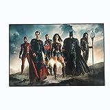 L'agilité Encadrée Justice League Movie 2017Teaser (Batman, Superman, Wonder Woman, Aquaman, Flash, Cyborg) 25,4x 38,1cm Poster en Basic Bois Massif Cadre Décoration Murale