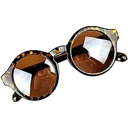 Aulei Sonnenbrillen Unisex Retro Runde Sunglass Herren Damen Vintage-Stil Leopard