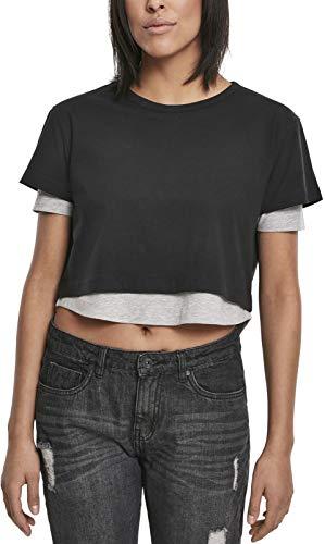 Urban Classics Damen Ladies Full Double Layered Tee T-Shirt, Mehrfarbig (blk/Gry 00029), Small (Herstellergröße:S) -