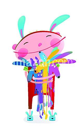 Little Kid hugging Kaninchen Funny Cute Toys. Little Girl oder Boy Umarmung Bunnies. Happy Kind in Bunny Kostüm, Vector illustration Poster Print, 27,9x ()