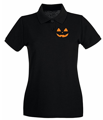 T-Shirtshock - Polo pour femme T0350 HALLOWEEN ZUCCA festivita Noir