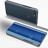 JAWSEU Funda Espejo Compatible con Huawei P Smart/Enjoy 7S Flip Tapa Libro Caso Duro Ultra Delgada Brillante Standing Translucent Window View Delantera y Trasera Completa Protectora Carcasa,Azul