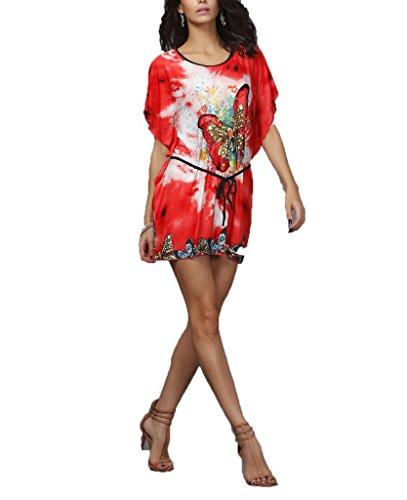 """Vlunt, Retro-Stil, florales Design, """"Bohemian-Floral Print Slim Mini Abendkleid kurz - D"""