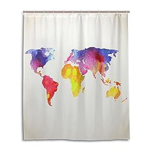 Cortina de ducha de baño 60x 72inch Watercolor Colorful Art, diseño de mapamundi tela de poliéster a prueba de moho cortina de baño