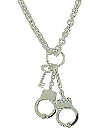 "TOC Sterling Silver 26.2gr Handcuffs & Key Pendant Belcher Necklace 17"""