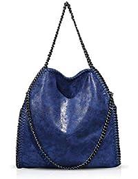 Bolsas de Hombro para Mujeres Bolso de Bandolera con Cadena de Cadena para Mujer Bolso de Bandolera para Mujer Bolso de Hombro Grande (Azul)