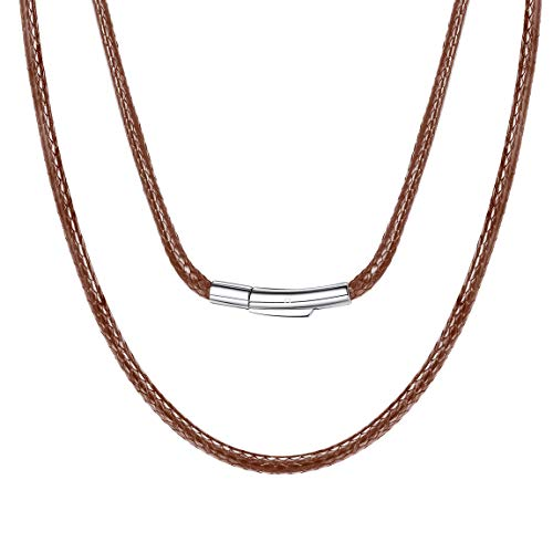ChainsPro Leder Seil Ketten, 3mm Breit, Leder Seil Ketten, Brown/Schwarz 40,46,51,56,61,66,71,76cm,Personalisierten Gravur Leder Seil Ketten