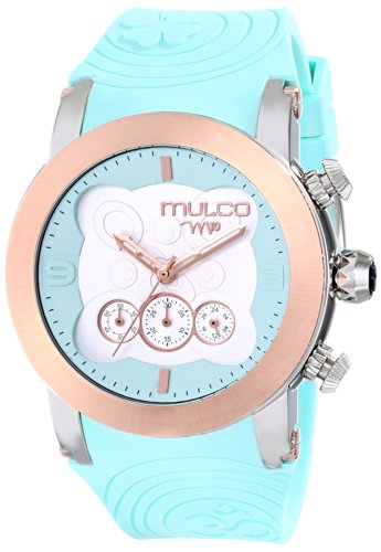 Mulco Women's 46mm Blue Silicone Band Steel Case Quartz White Dial Chronograph Watch MW5-2873-413