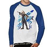 Cloud Strife Blue Ink Final Fantasy VII Men's Baseball Long Sleeved T-Shirt