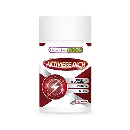 AKTIVIERE DICH - KOFFEIN + TAURIN + TAIGAWURZEL   Starkes Energie Stimulierungsmittel   Entfernt Müdigkeit, verbessert die körperliche Widerstandskraft und verstärkt die Muskelleistung   60 Kapseln