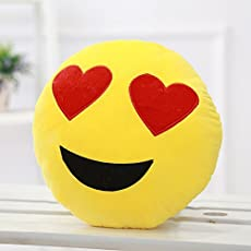 Jassi Toys Smiley Thick Plush Pillow Round Cushion Pillow Stuffed /Gift for Kids/for Birthday Gift -30CM , Yellow (Heart-Eyes Smiley)