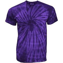 TDUK - Camiseta psicodélica modelo espiral de manga corta para hombre 100% Algodón- Verano Hippie (Pequeña (S)/Morado espiral)