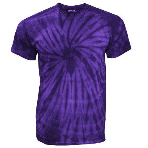 TDUK - Camiseta psicodélica modelo espiral de manga corta para hombre 100% Algodón- Verano Hippie (Grande (L)/Morado espiral)
