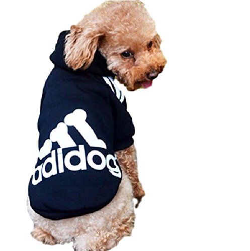 Ducomi Felpa per Cani Adidog con Cappuccio in Morbido Cotone - Vestito Cane Taglia XS - 8XL e Ampia Scelta di Colori - Spedizione dall'Italia (L, Black)