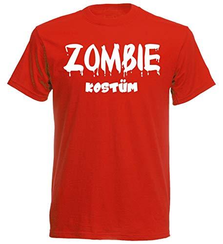 Kostüm Zombie Indianer - nation Karneval Fasching T-Shirt Köstüm viele Motive zur Auswahl Notarzt Teufel Matrose Cowboy Indianer Pilot Hippie (S, Zombie - Rot)