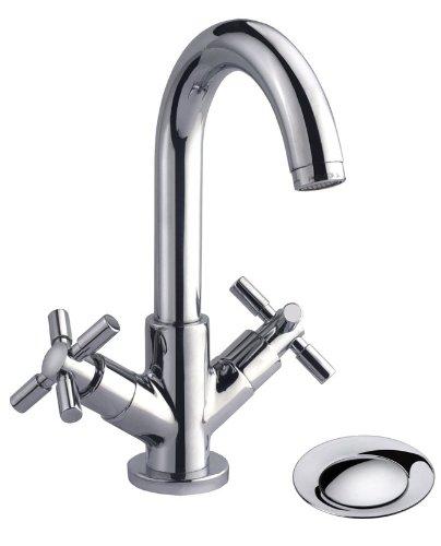 Cornat 2-Griff-Waschtischarmatur TRATTO chrom / Wasserhahn / Badarmatur / Waschbeckenarmatur / Einhebelmischer / Badezimmer / TR182